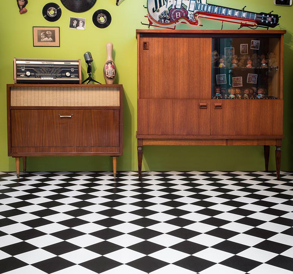 Comfort Vinyl musta/valkoinen ruutu